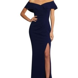 Xscape Midnight Blue Off-Shoulder Gown Size 10